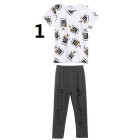 Girls Autumn Short Sleeve Tops and Pants Clothes Set