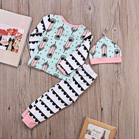 3pcs Baby Feather Printed Cotton Long Sleeve Top & Hat & Pants Outfit