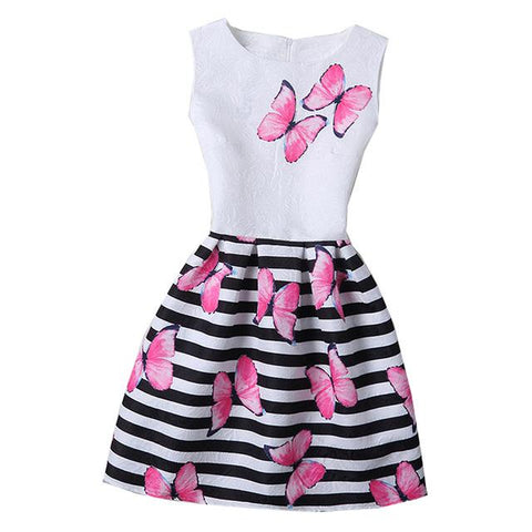 Butterfly Floral Print Dresses for Girls