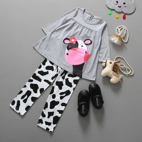 Spring Baby Girl Outfit Long Sleeve T-shirt Tops Dress+Pants