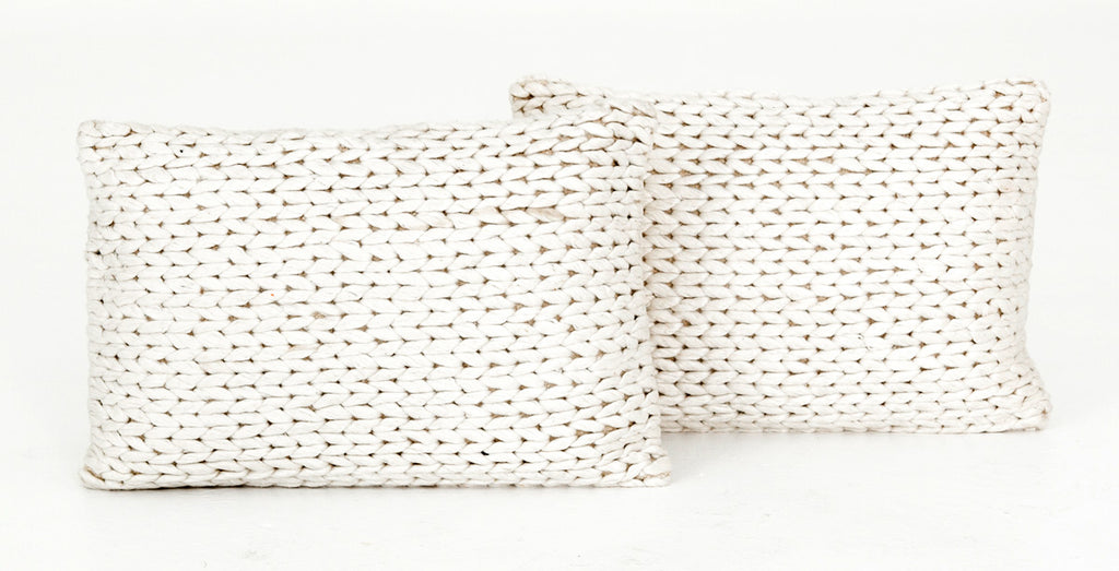 Shop Four Hands Cream Braided Pillow Set of Two
