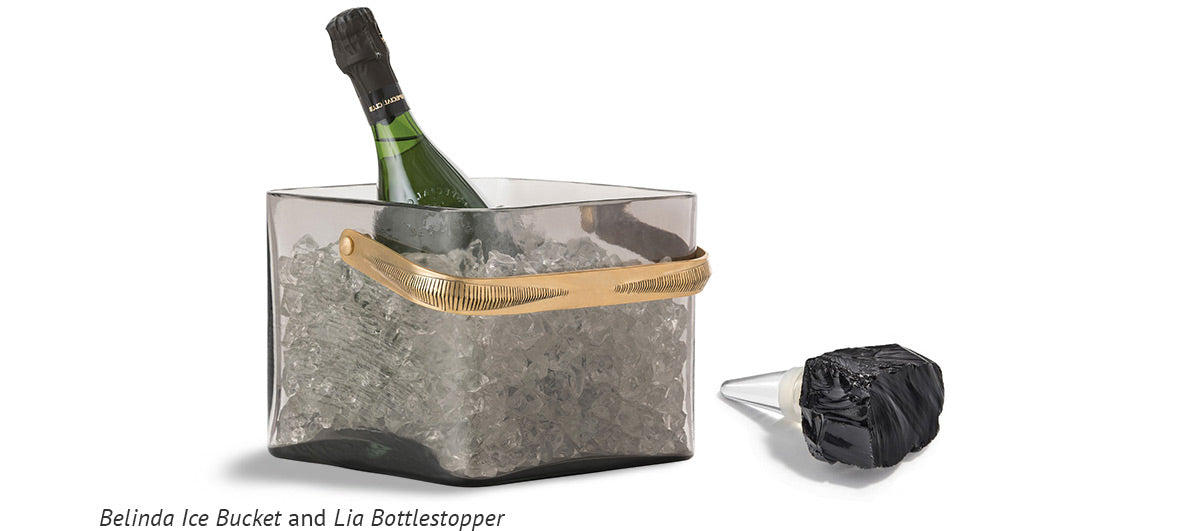 Belinda Ice Bucket and Lia Bottlestopper Obsidian