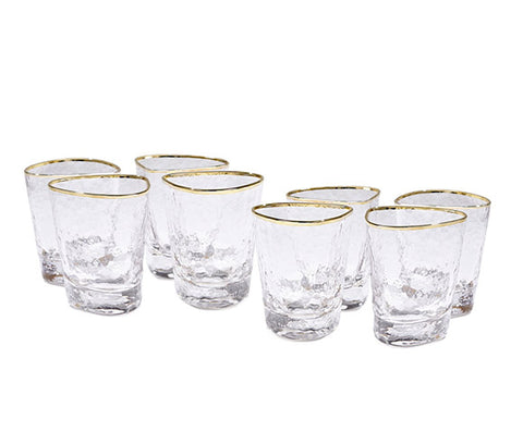 global views hammered water glass set of 8