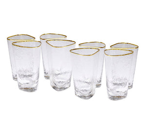 global views hammered high ball glasses clear set of 8