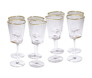 global views hammered footed wine glasses with gold trim