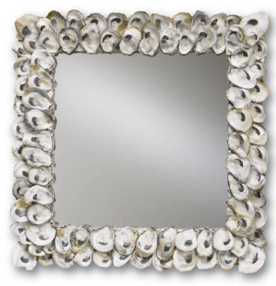currey and company oyster shell mirror square coastal beach