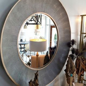 made goods almond mirror sand shagreen brass round