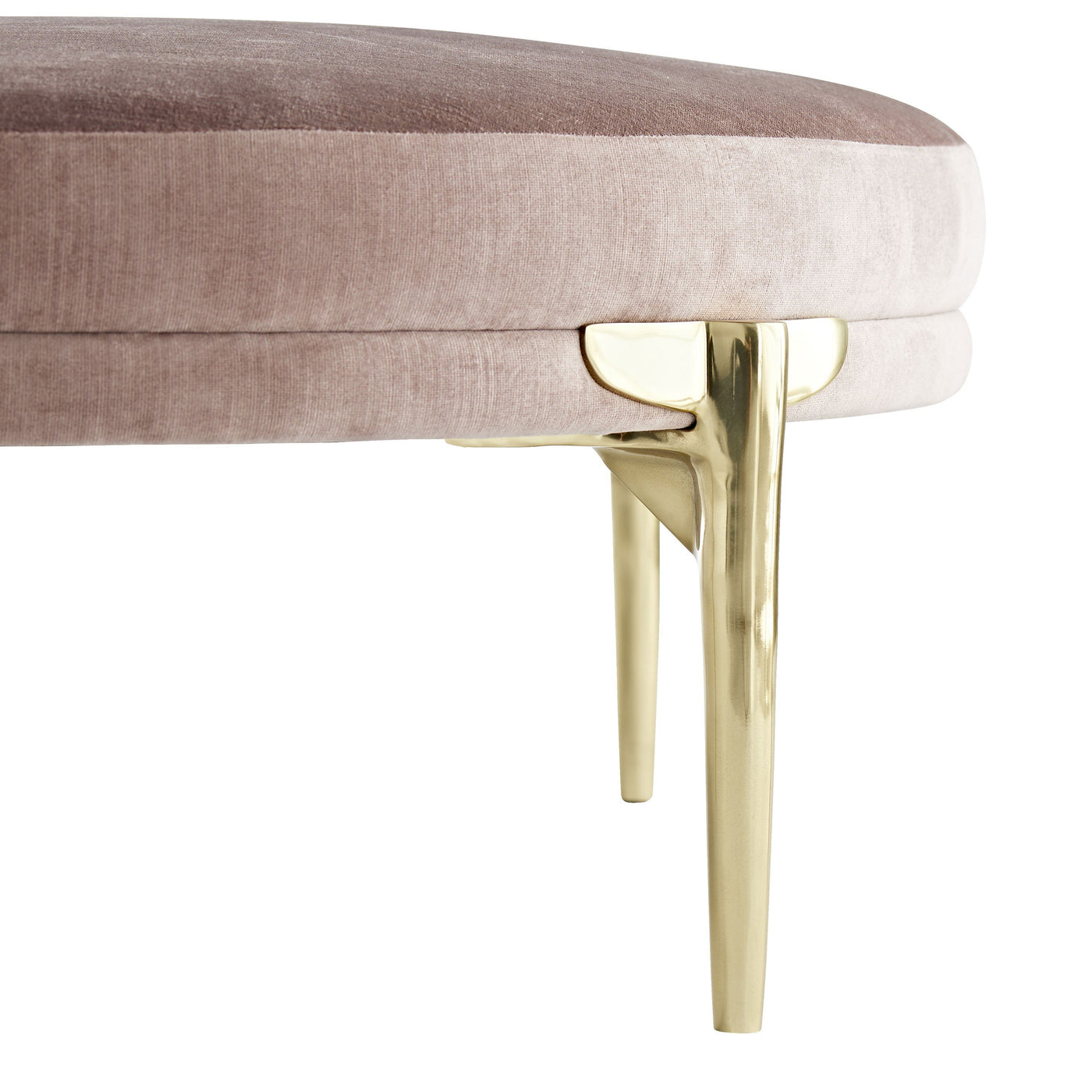 arteriors Andrea round Ottoman brushed brass leg detail