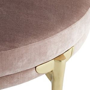 arteriors home Andrea round ottoman rosewood corner leg detail