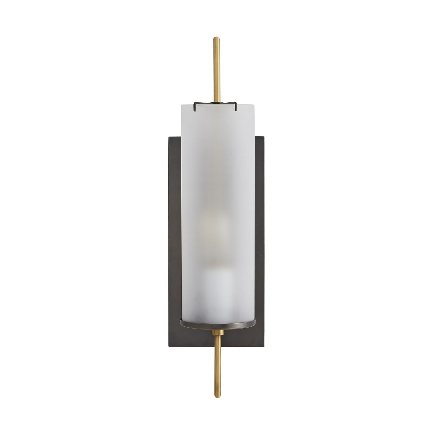 arteriors stefan wall sconce bronze frosted glass