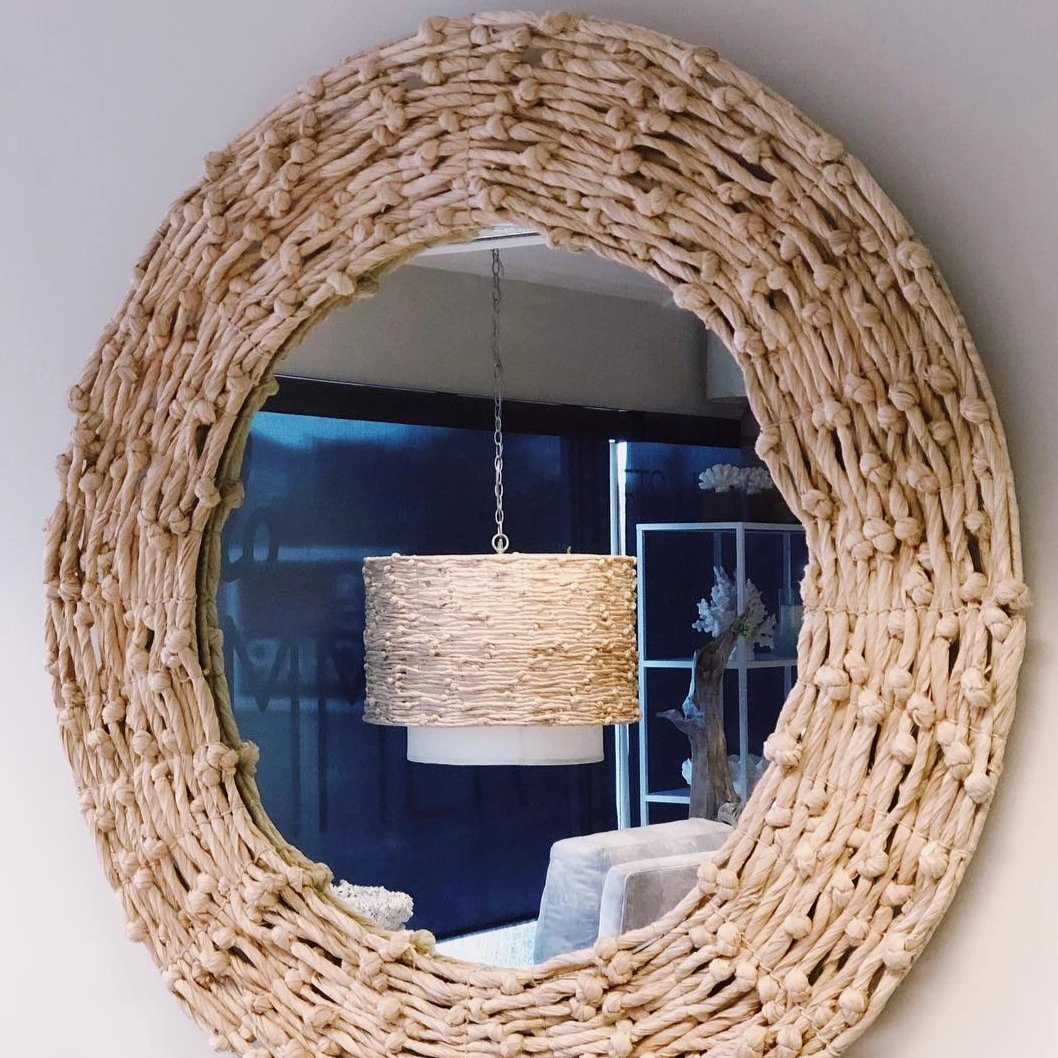 Made Goods Nina round mirror knotted seagrass natural materials