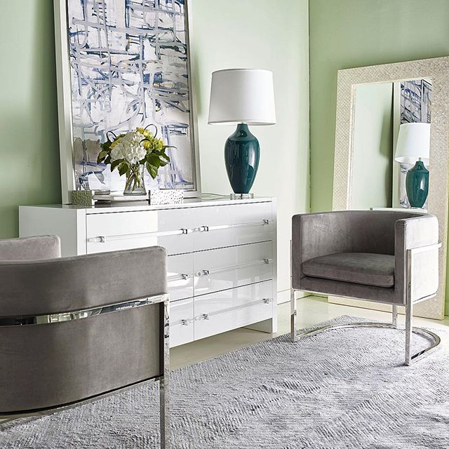 worlds away jenna chair silver nickel gray velvet showroom