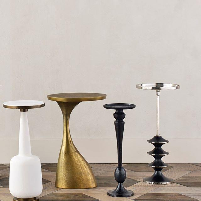 currey and company cirebon drinks table silver black round