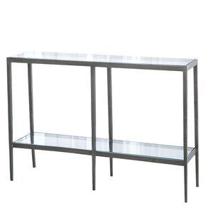 studio a laforge console brass iron glass two tier table