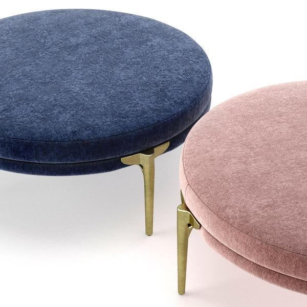 arteriors home Andrea round ottoman rosewood and blue