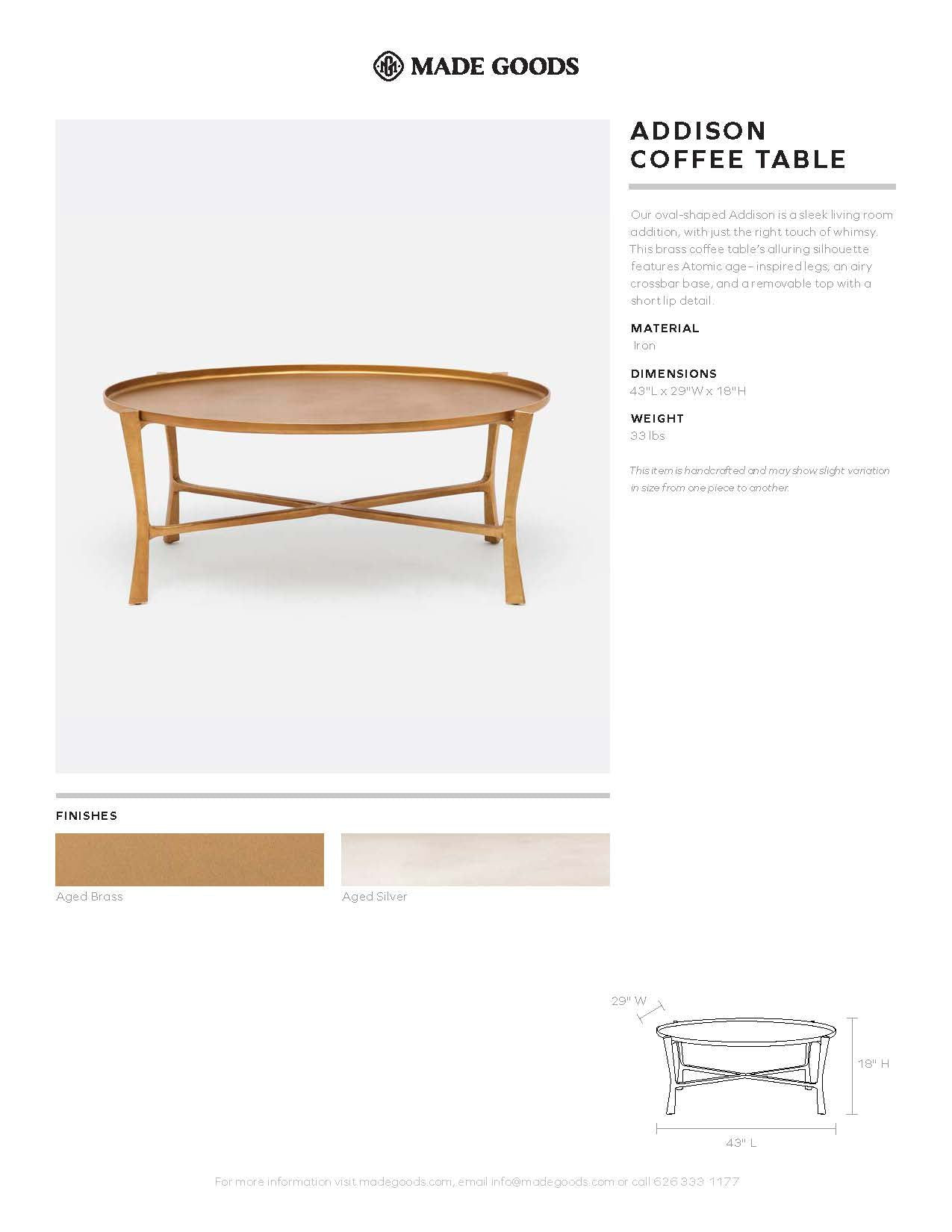 Made Goods Addison Oval Coffee Table Tearsheet