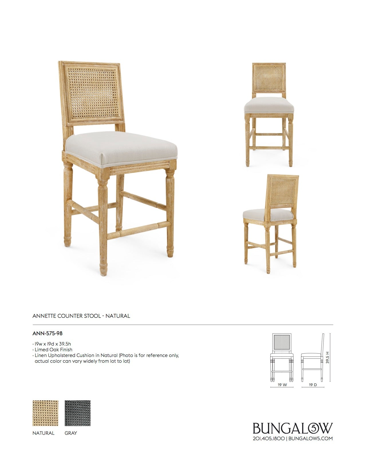 Bungalow 5 Annette Counter Stool Natural Tear Sheet
