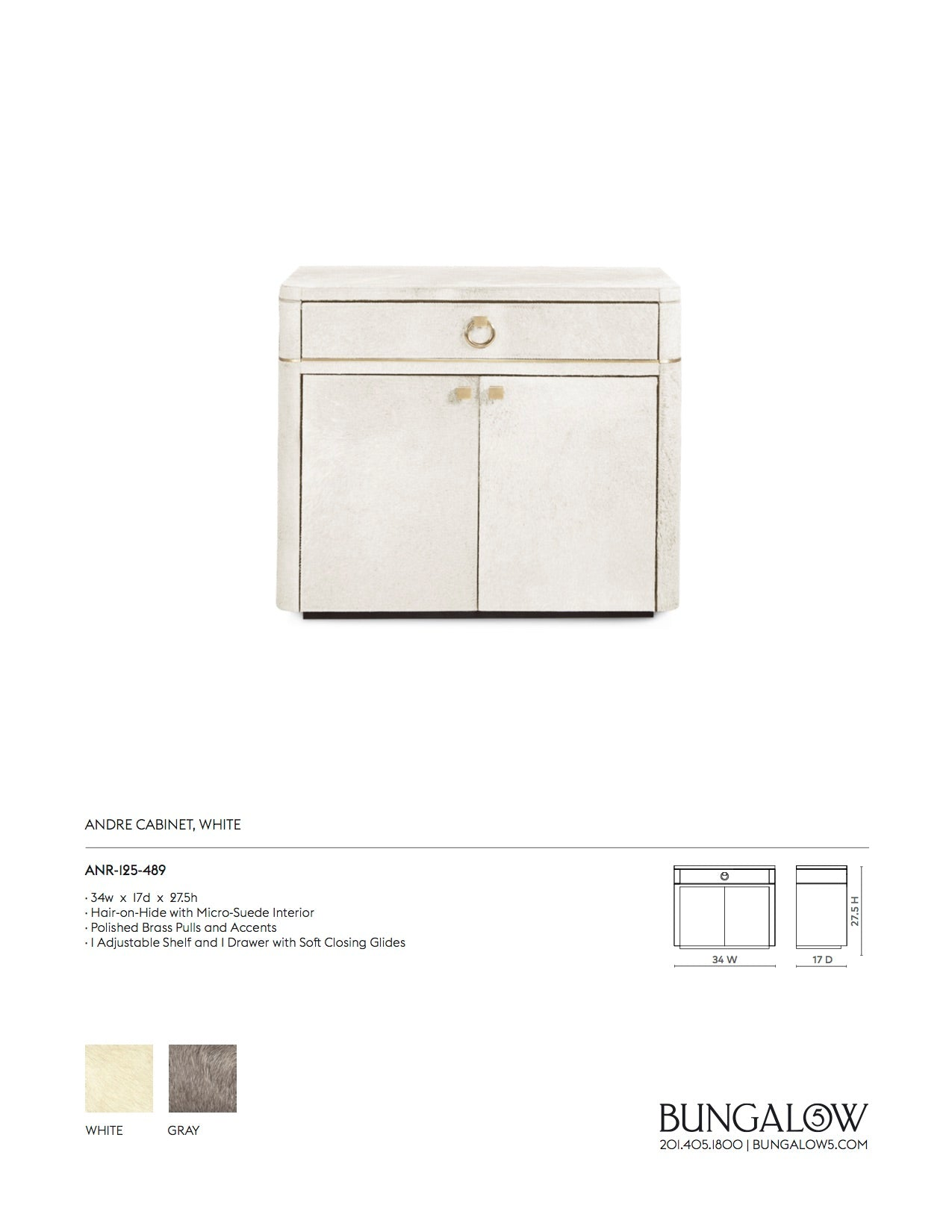 Bungalow 5 Andre Cabinet White Tear Sheet