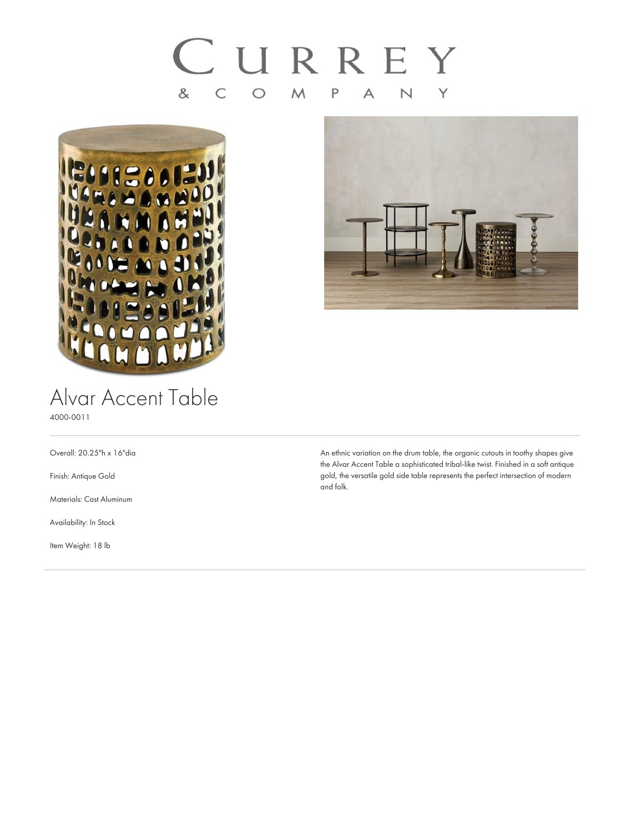 Currey & Company Alvar Accent Table Tearsheet
