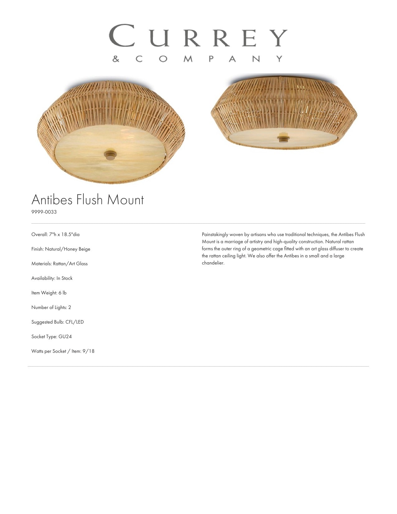 Currey & Company Antibes Flush Mount Tearsheet