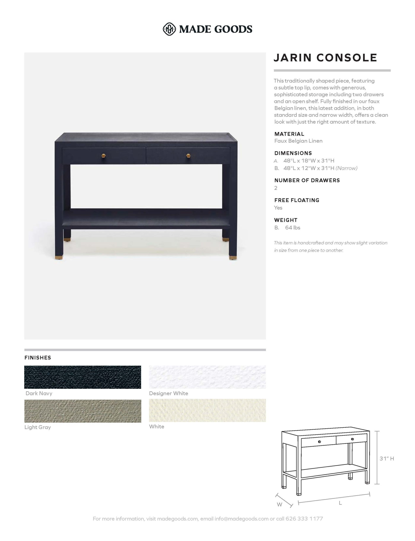 made goods jarin console tearsheet