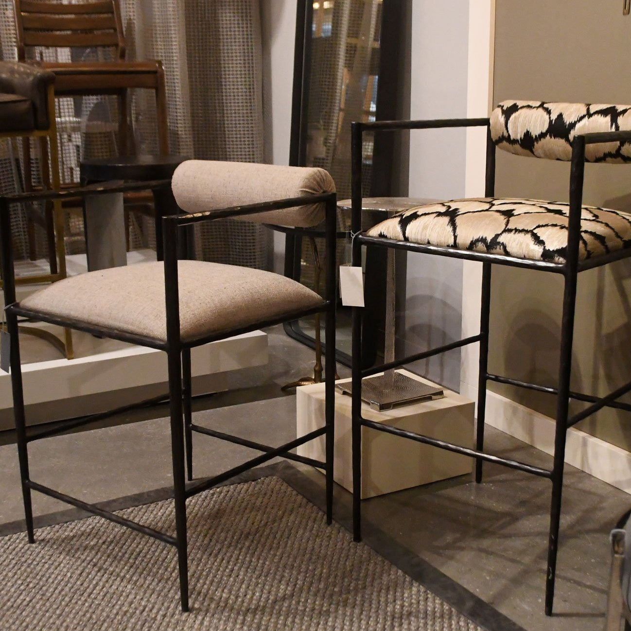 arteriors home barbana counter stool pewter texture