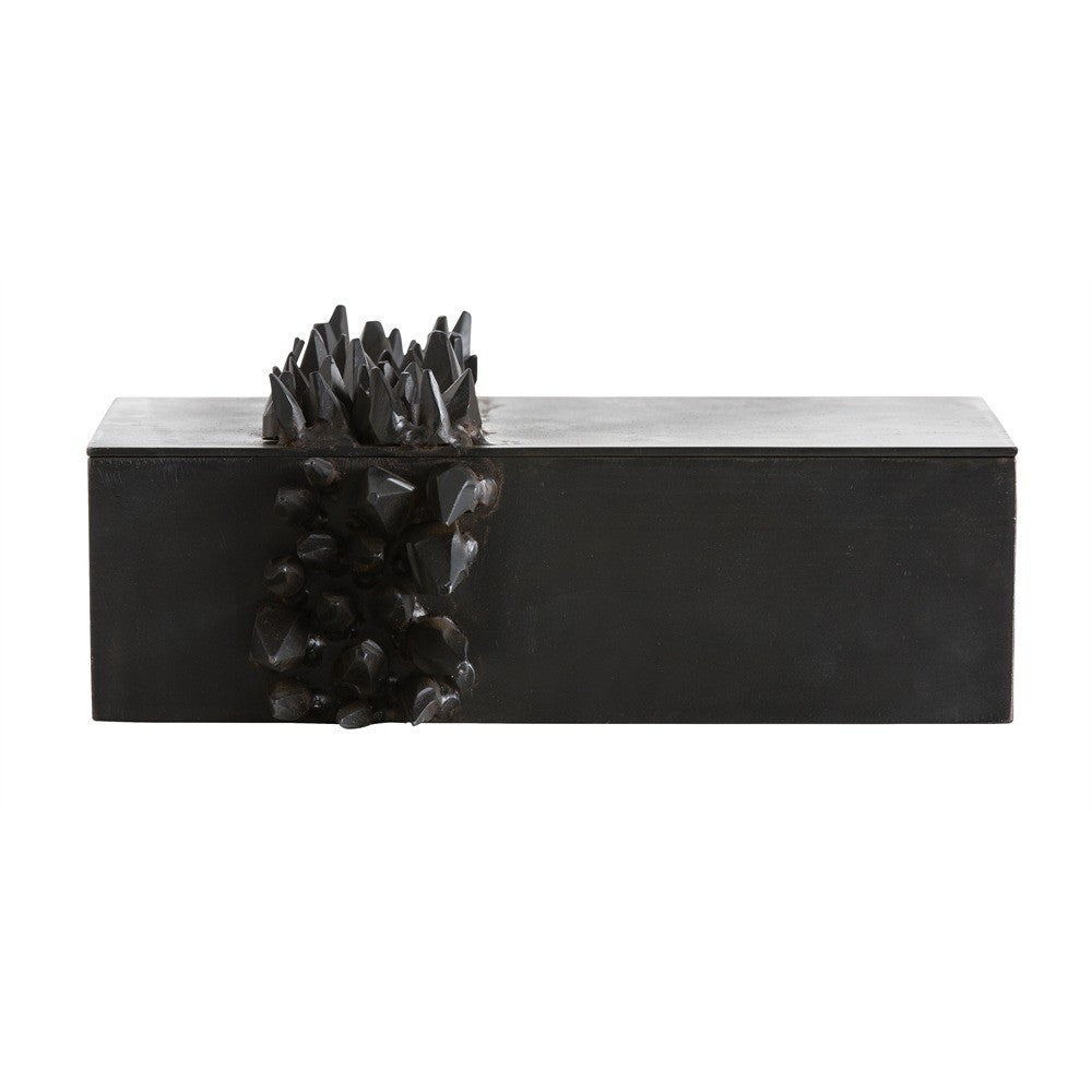 Arteriors home jagger rectangular box natural iron decorative black 6366