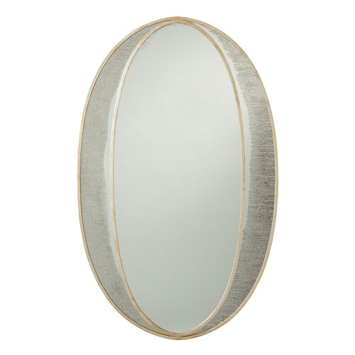 arteriors home nadine mirror iron gray finish champagne gold leaf oval 6119