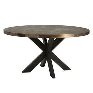 arteriors home halton dining table antique brass deep expresso