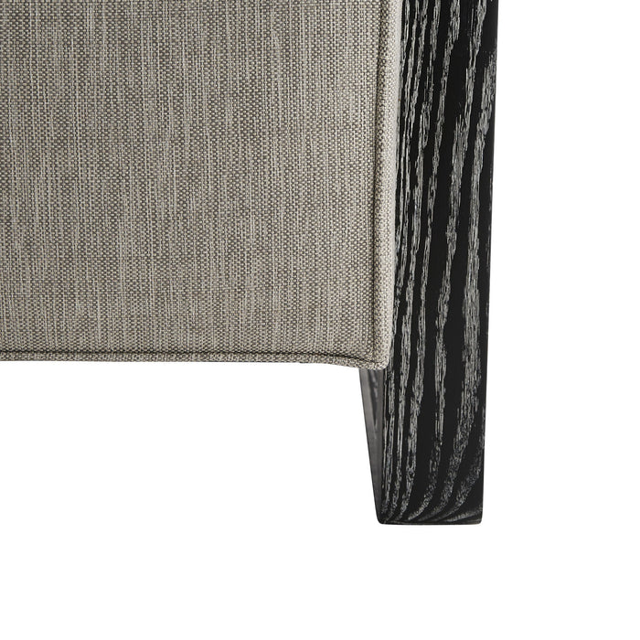 Arteriors Home Duran Chair Fossil Tweed Black Cerused Leg Detail