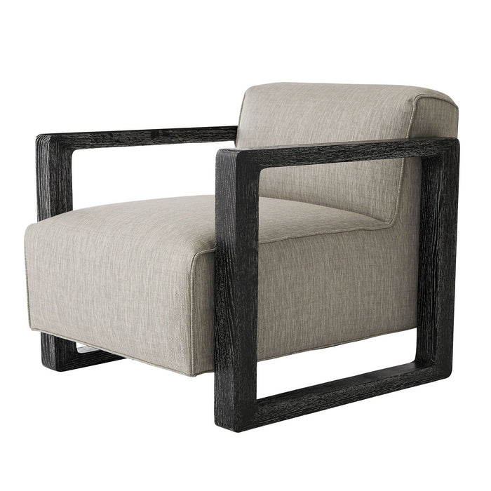 Arteriors Home Duran Chair Fossil Tweed Black Cerused Side