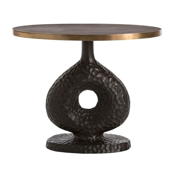 arteriors home seth side table antique bronze brass finishes