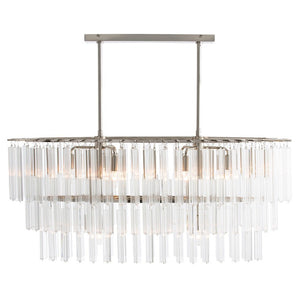 arteriors home nessa chandelier glass steel polished nickel 8 light front view