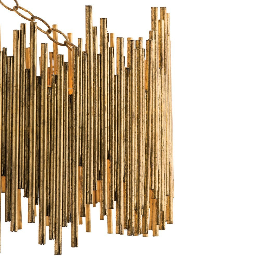 Arteriors home prescott pendant light gold leaf iron rods detail 86801
