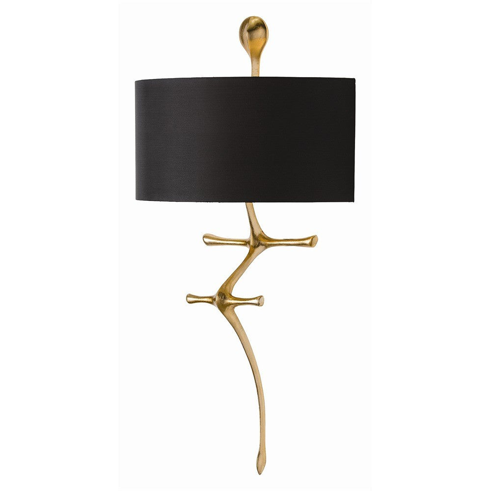 arteriors home gilbert wall sconce gold leaf organic wall lighting black gold