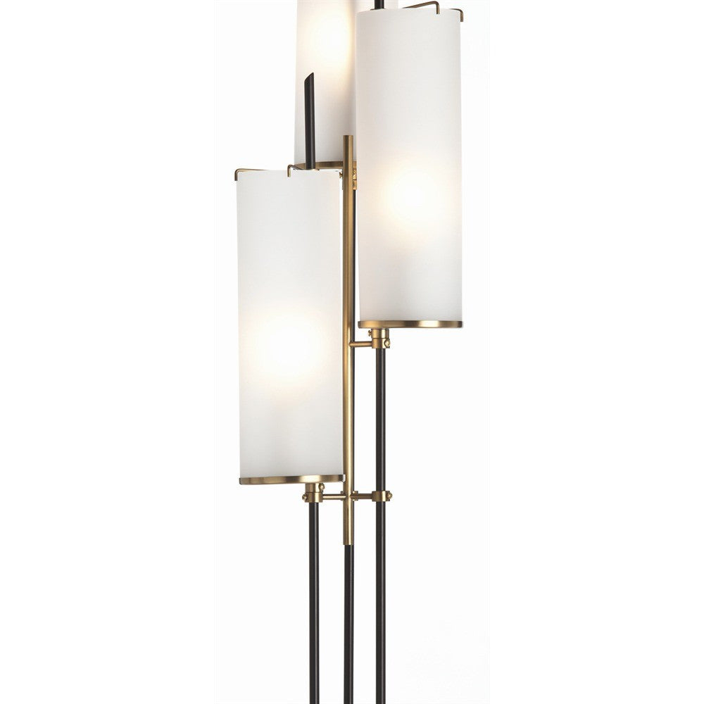 Arteriors home stefan floor torchiere black iron antique brass finish white glass 79661