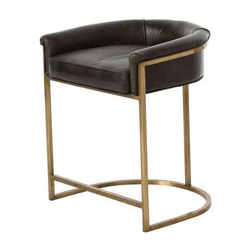 arteriors home calvin brindle counter stool low back leather seating