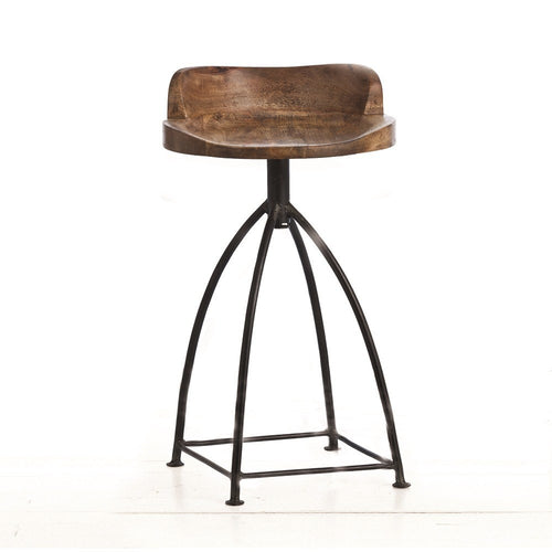 arteriors home henson wood iron swivel counter stools