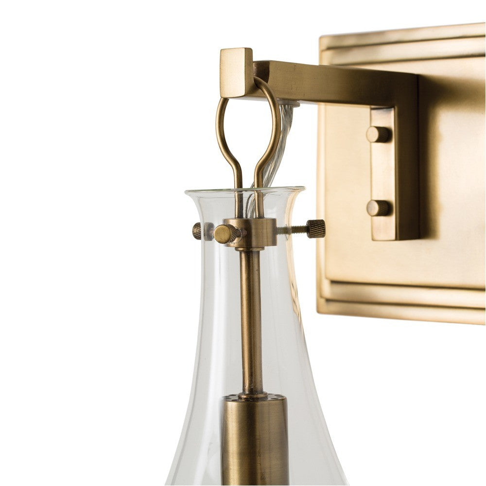 arteriors home sabine wall sconce brass glass