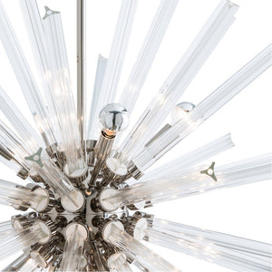 arteriors home hanley chandelier polished nickel close up glass