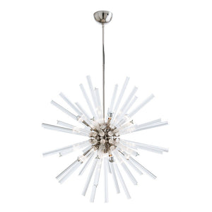 arteriors home hanley chandelier polished nickel fluted glass sphere