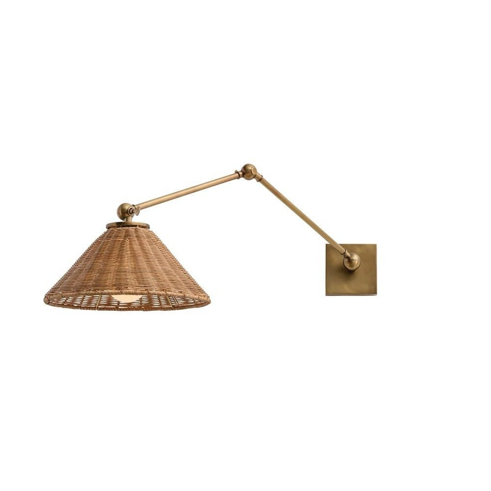 arteriors home padma wall sconce windsor smith steel brass natural organic wicker