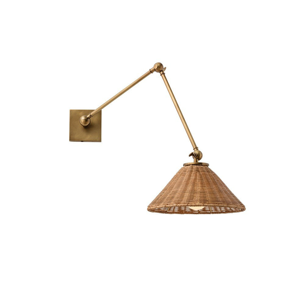 arteriors home parma wall sconce windsor smith front view steel brass natural organic wicker
