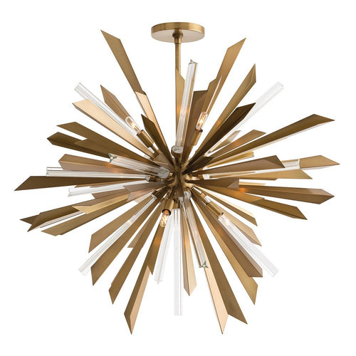 Arteriors Home Waldorf Large Chandelier antique Brass metal shards and glass rods design 89029