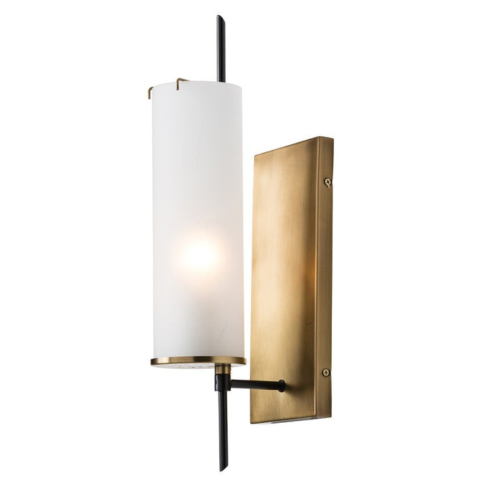 arteriors home stefan wall sconce frosted glass bronze vintage brass one bulb