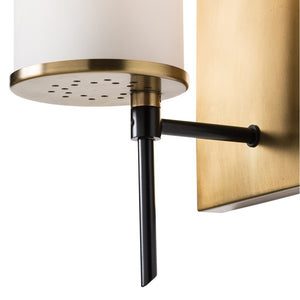 arteriors home stefan wall sconce frosted glass brass modern sconces