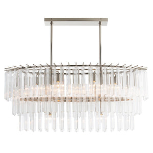 Arteriors home Nessa chandelier glass steel polished nickel 8 light 89009
