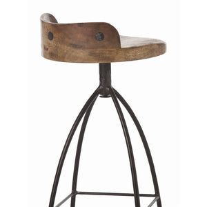 arteriors home hinkley barstool wood iron swivel kitchen seating