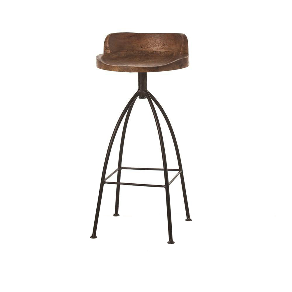 arteriors home hinkley wood and iron swivel barstool natural wood