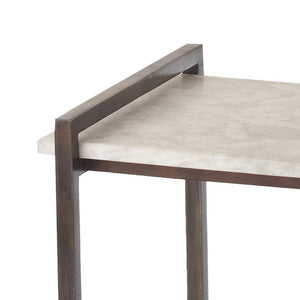 arteriors home hollis side table natural gray iron finish white marble top detail